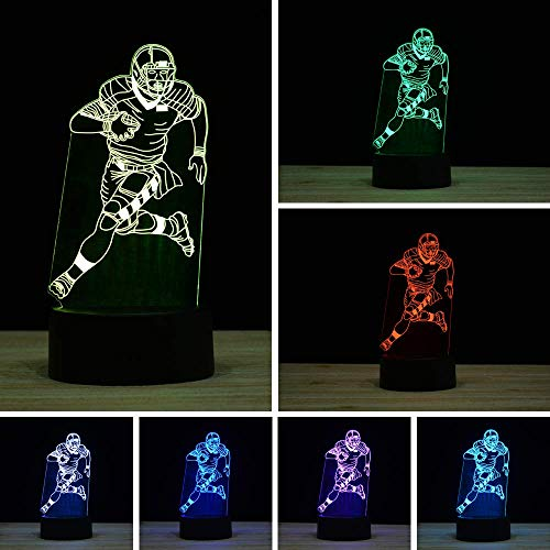 3D Illusion LED Night Light,16 Colors Gradual Changing Touch Switch USB Table Lamp for Holiday Gifts or Home Decorations (Remote Control ,Football Player,Rugby Light)