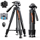 KINGJOY 75' Camera Tripod for Canon Nikon Lightweight Aluminum DSLR Camera Stand with Carry Bag Universal Phone Mount and Wireless Remote Max Load 5kg