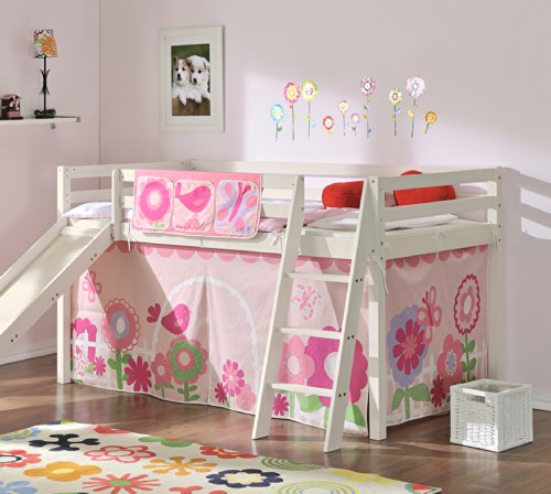 Noa and Nani - Midsleeper Cabin Bed with Slide and Floral Tent - (Whitewashed Pine)