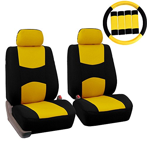 FH Group FB050102 Flat Cloth Seat Covers (Yellow) Front Set with Gift –...