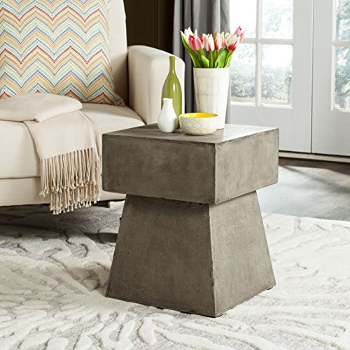 Safavieh Outdoor Collection Zen Mushroom Modern Dark Grey Concrete 18.1-inch Accent Table