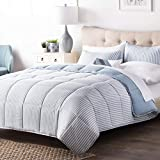 3 Piece Blue White Chambray Stripes Comforter Cal King Set Luxury Beach Nautical Coastal Stripe Printed Solid Reversible Bedding Casual Style Box-stitched Down Alternative Soft Polyester Microfiber