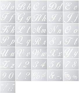LiDing 36 plantillas de letras de arte reutilizables, para manualidades, álbumes de recortes, manualidades, accesorios con letra de caligrafía en mayúsculas, números y signos