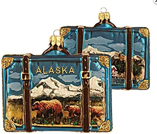 阿拉斯加行李箱玻璃圣诞饰品旅游纪念品