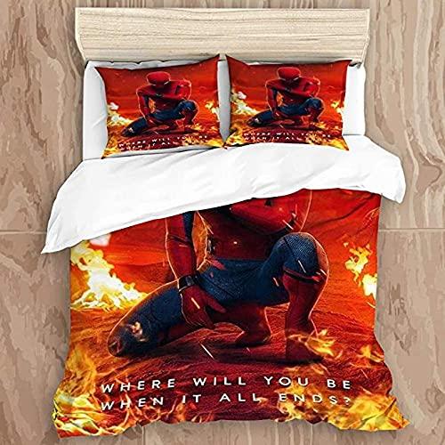 HUA JIE Tagesdecke Bettbezug-Set 3D-Druck S-Pi-D-Er M-An Dekoratives 3-Teiliges Bettwäscheset