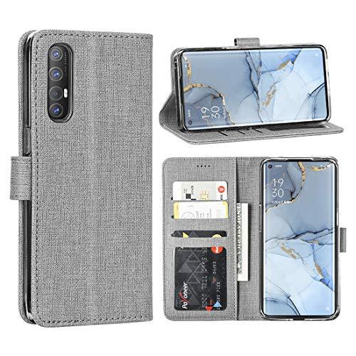 Foluu Oppo Find X2 Neo Hülle, Oppo Find X2 Neo Hülle, Brieftaschen-Hülle, Kartenholster, Segeltuch, weich, TPU, Stoßfänger mit Ständer, ultradünn, starker Magnetverschluss für Oppo Find X2 Neo (grau)