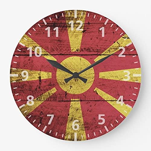 DKISEE Große Wanduhr mit Mazedonien-Flagge, geräuschlos, nicht tickend, aus Holz, dekorative r&e Wanduhr für Zuhause, Büro, Schule, Dekoration, Uhr, 38,1 cm, el168