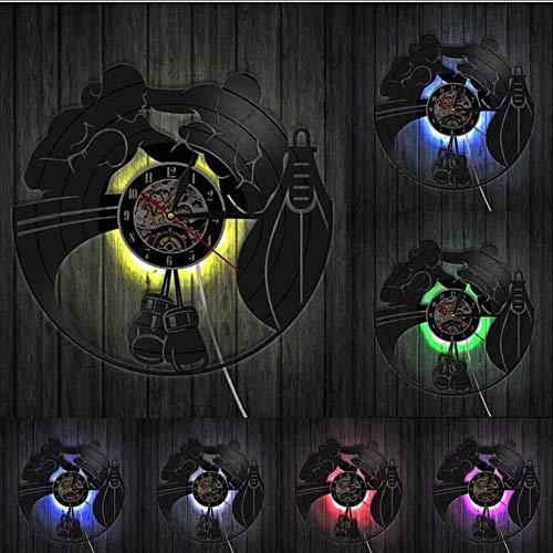 Mubgo Wandklokken bokshandschoenen bokszak vechter geluidsplaat wandklok boxen wooncultuur wandklok vechtsport boxer scraper geschenk Zonder licht