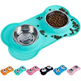 Super Design Double Bowl Pet Feeder Stainless Steel Food Water Bowls with No Spill Silicone Mat for Dogs Cats Small Light Green