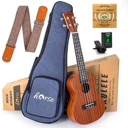 Concert Ukulele 23 Inch Sapele Ukelele Uke Starter Kit for Beginners with...