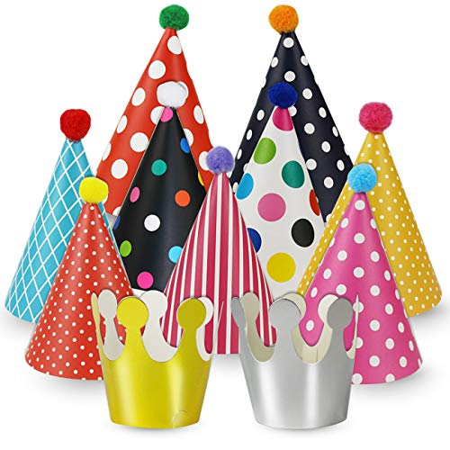 Cefanty Party Hats 11 Pack Fun Cone Party Hats for Kids or Adults By