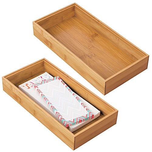 mDesgn 2er-Set Aufbewahrungsbox für Büro und Badezimmer – rechteckige Schubladenbox aus Bambus – hochwertiger Schreibtisch Organizer für Bürobedarf und Bastelsachen – naturfarben