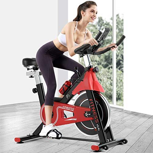 Fitnessclub Indoor Heimtrainer Radfahren mit Riemengetriebenem Schwungrad Radfahren Verstellbarer Lenker Sitzwiderstand Digitaler Monitor Herzfrequenzsensoren Telefonhalter Flasche Rot