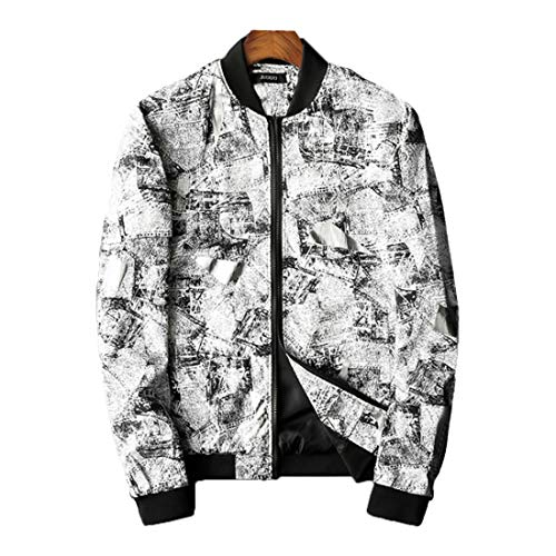 HZCX FASHION Mens Printed Bomber Flight Jacket Softshell Lightweight Zip Up Coat QTDS3009-70-2025 WH-US S TAG L
