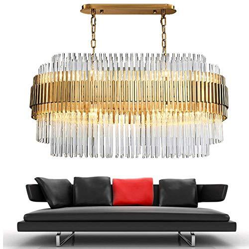 ZCZZ - Lámpara de araña de cristal moderna, diseño rectangular, de lujo, para el comedor de lujo, lámpara colgante de cristal, luz fría, 6000 K, 120 x 43 x 50 cm
