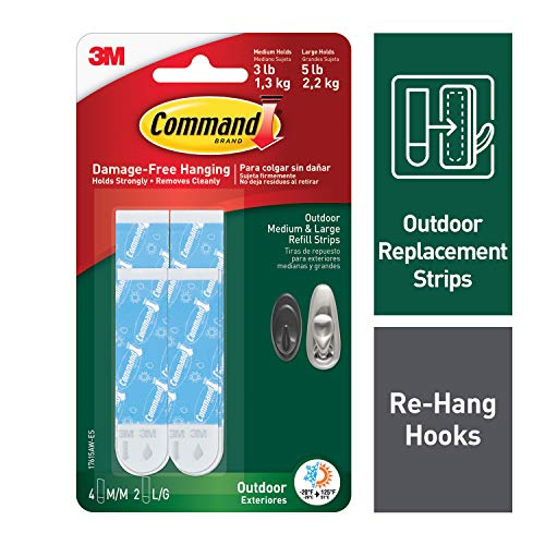 Command Outdoor Refill Strips, 4 Medium, 2 Large Strips, Re-Hang Outdoor Hooks (17615AW-ES)