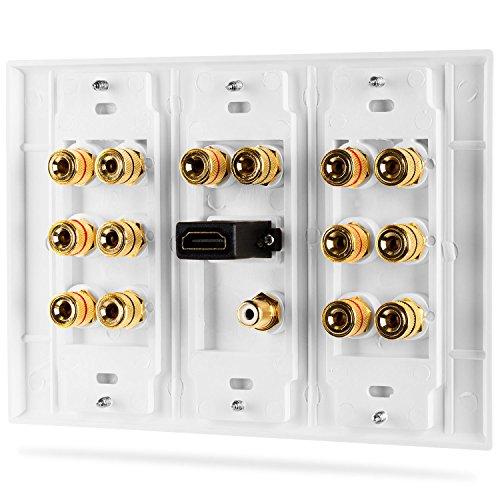 Panneau de distribution multicanal Fosmon Hd8006- 7.1 Home Theater - Avec reliure banane et cuivre et plaqué or 7.1 blanc