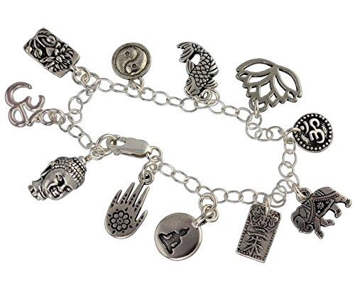 Night Owl Jewelry Zen Buddha Charm Bracelet - Buddhist and Hindu Symbols- Om, Yin Yang, Koi, Lotus, Henna Hand (7.5' (M))