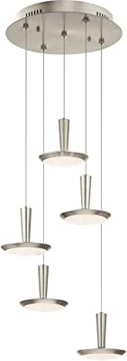 Pendants Light with Brushed Nickel Finished Steel Material LED Bulb Size 7 inch