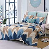 YAYIDAY Chevron Bedspread Quilt Set Queen Size - Peach Skin Fabric Breathable Coverlet with Pillow Shams Geometric Print, Modern Coverlet Navy Blue Brown White Pattern
