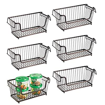 mDesign Stackable Metal Food Storage Basket with Handles, 6 Pack from
