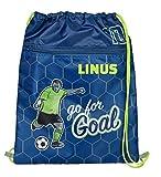 Beutel für Jungen mit Namen | Motiv Fußball-Spieler Kicker in blau & grün | personalisiert & Bedruckt | Turnbeutel zum Zuziehen Sportbeutel Fußballer