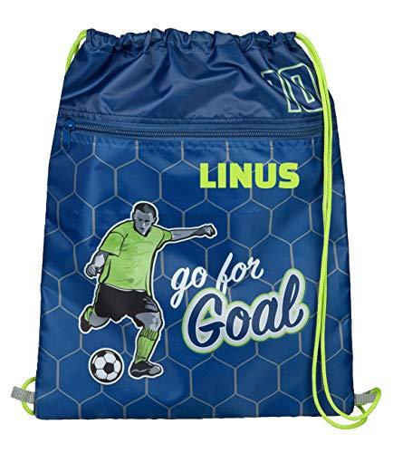 Beutel für Jungen mit Namen   Motiv Fußball-Spieler Kicker in blau & grün   personalisiert & Bedruckt   Turnbeutel zum Zuziehen Sportbeutel Fußballer