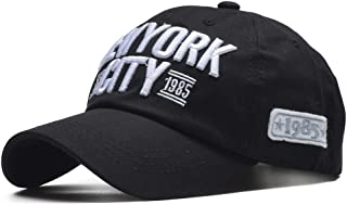 VIIMON 100% Cotton New York Baseball Cap Snapback Hat Men Women Letter Fitted Cap Casquette Homme Hip Hop Soft NY Cap 54-59cm Adjustable (Color : Black)