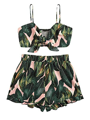 SweatyRocks Women's 2 Piece Casual summer Sleeveless Crop Top Camisole with Shorts Green Decor Small