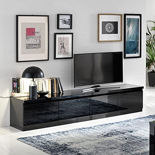 MF Mobile Porta TV Roma Nero Laccato Lucido 4 ante, 220 x 50 x h45 cm
