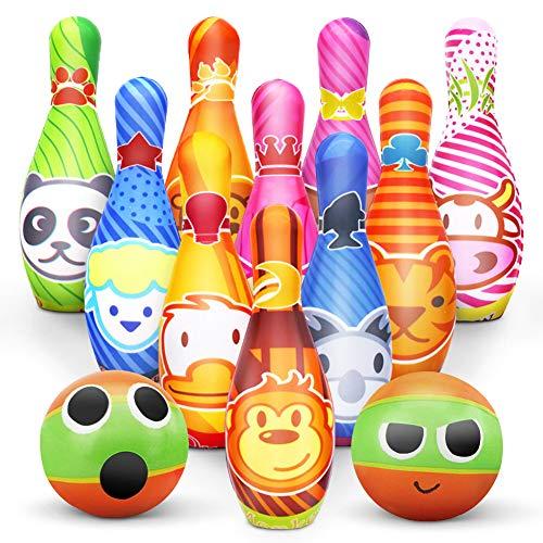 Kegelspiel für Kinder Bowling Ball Set mit 10 Kegel und 2 Bälle in netzbeutel Drinnen Draußen Spielzeug Geschenke Spiele ab 3 Jahren Junge Mädchen