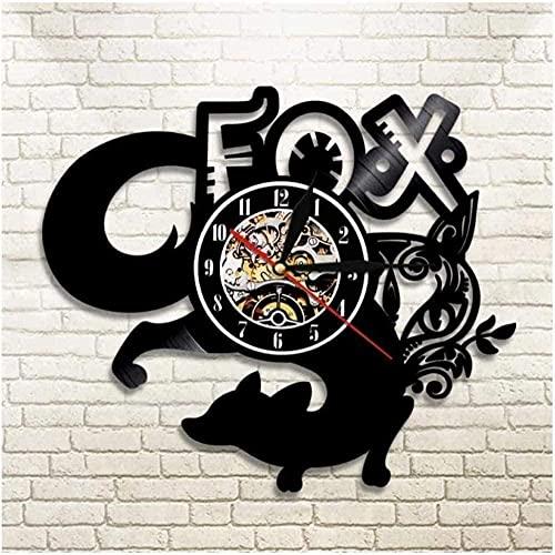 zgfeng Animal Fox Reloj de Pared de Vinilo Reloj de Pared de Vinilo único Reloj Colgante de Pared para Dormitorio Regalo Creativo-Sin LED
