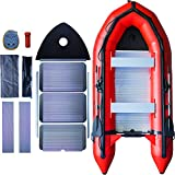 Seangles Inflatable Boat Aluminum Floor Aluminum Transom 4 Person Professional Heavy Duty Saltwater...