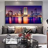 YuanMinglu Cartel Moderno del Arte de la Pared de la Lona e impresión Pintura del Paisaje de la Ciudad Tampa Florida visión Nocturna Imagen decoración de la Sala Pintura sin Marco 45x90cm