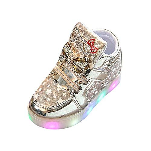 Fenverk Kinder Kind Star Bowknot Crystal Mesh Led Licht Leuchtend Turnschuhe Schuhe Baby Warm Winter Kleinkind BeiläUfig Mode Atmungsaktiv Stiefel(Gold,20 EU)