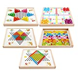 WyaengHai Halma Holz Multifunktionale 5 In 1 Standard Halma Brettspiel Familie Halma Groß Strategiespiel (Color : True Color, Size : 31.2x31.2x3.5cm) -