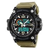 Mens Analog Digital Watch LED 50M Waterproof Outdoor Sport Watches Military Multifunction Casual Dual Display 12H/24H Stopwatch Calendar Wrist Watch-Khaki