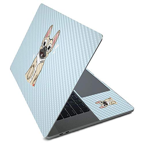 MightySkins Carbon Fiber Skin for Apple MacBook Pro 16' (2020) - Frenchie Love | Protective, Durable Textured Carbon Fiber Finish | Easy to Apply, Remove, and Change Styles | Made in The USA
