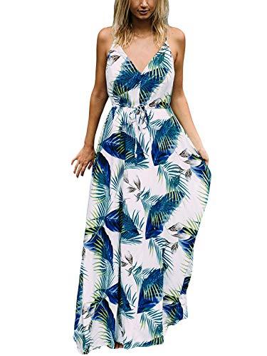 Auxo Femme Robe Longue Été Bohème Chic Col Rond sans Manche Imprime Robe de Plage Vacances, White 3, XL