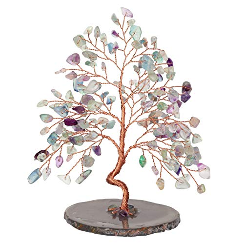 CrystalTears Edelstein Baum des Lebens Dekoration Wire Wrap Trommelsteine mit Achatscheibe Basis 14-16cm hoch Feng Shui Lebensbaum Geldbaum Glückbaum Tisch Büro Deko (Fluorit)