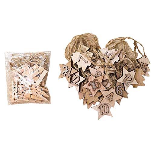 ypypiaol 24Pcs 1-24 Estrella De Madera Calendario De Adviento De Navidad Árbol DIY Etiquetas Colgantes Decoración Grano de Madera Original
