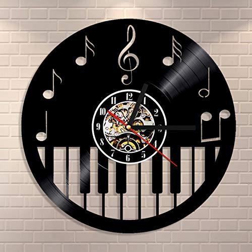 ESS Piano Keyboard Vinyl Record Orologio da Parete Spartiti Musicali Pianoforte Chiave di Violino Note Orologio da Parete Musica Room Decor Orologio da Parete Musicisti Regalo