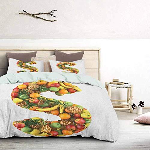 UNOSEKS LANZON Funda de edredón con letra S hecha de frutas orgánicas saludables, pinos, plátanos, naranjas, juegos de cama para niños, uñas de gato, no se enganchan, multicolor, tamaño king