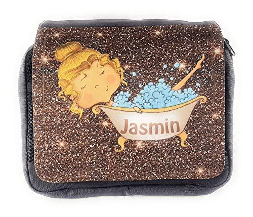 Kulturbeutel mit süßem Girl in der Badewanne I Waschbeutel mit Name I Reise-Kulturtasche in Glitzeroptik I personalisiert mit dem Wunschnamen