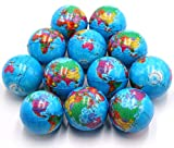 Set of 12 - Globe Planet Earth Soft Foam Stress Ball Toy Bulk Educational Hand Wrist Stress Reliefs Squeeze Balls for Kids and Adults at School or Office Party Favors (Earth)