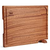 【Knife-Friendly Wood】Butcher Block Board is made of a Whole Ebony Wood, can withstand heavy blows, chopping, and soaking, won't dull your knife and wooden chopping boards would not warp or split. ensure your knife sharp, not like a plastic chopping b...