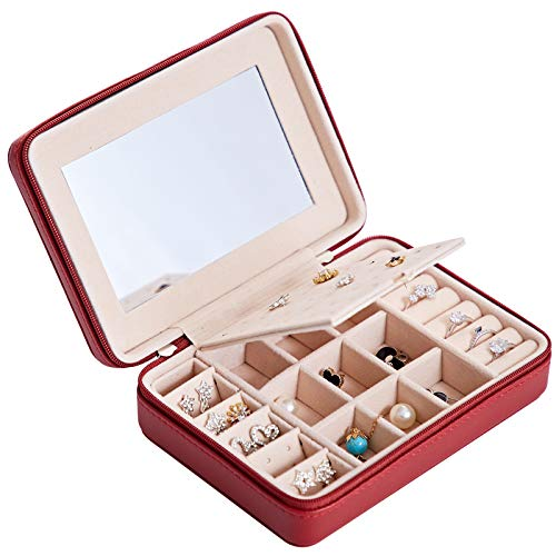 HAVIEANA Caja Joyero Rojo Estuche de Joyas PU Rectangular Espejo Joyero Almacenamiento Organizador,17x12x5cm