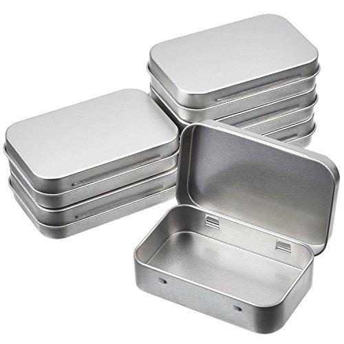 Shappy – Juego de 6cajas rectangulares de metal con bisagras de 9,5 x 6,2 x 2cm de color plateado para organizar tus cosas
