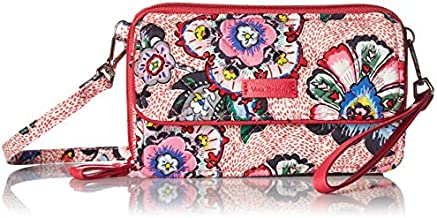 Vera Bradley Women's Signature Cotton Crossbody Purse with RFID Protection Wristlet, Stitched Flowers, One Size
