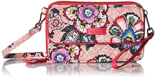Vera Bradley Women's Signature Cotton RFID All in One Crossbody Wristlet , Stitched Flowers, One Size